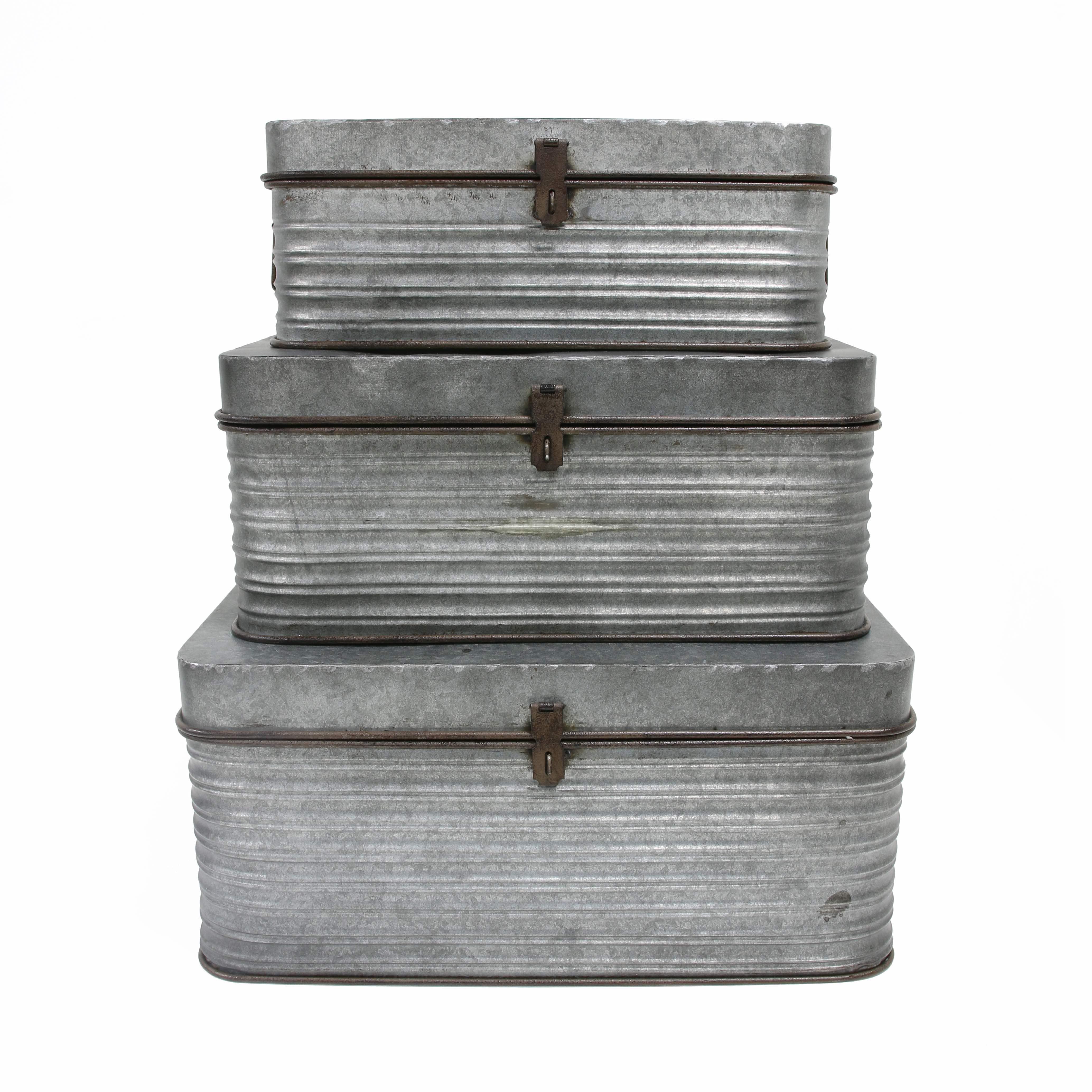 3er Set Aufbewahrungsbox aus Metall